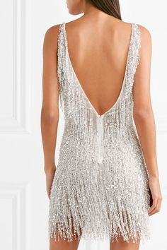 Naeem Khan - Gatsby embellished chiffon mini dress - Care - Skin care , beauty ideas and skin care tips 1920s Party Dresses, Evening Dresses, Afternoon Dresses, Flapper Dresses, Roaring 20s Dresses, Wedding Dresses, White Chiffon, White Sequin Dress, Fashion Clothes