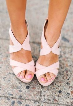 What I love about these shoes: the color, I love blush, they are wedges, and the straps are sturdy and simple.