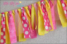 You Are My Sunshine Rag Tie Banner  RTS Hot Pink by LittleLillyLou, $27.95