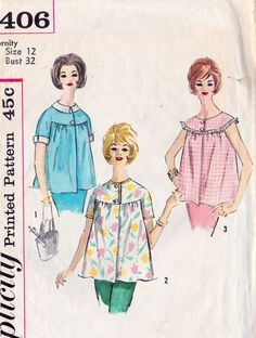 "1960s Misses Summer Maternity Tops, Vintage Sewing Pattern, Simplicity 4406 bust 32"". $8.00, via Etsy."