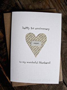 1st Anniversary Keepsake Card Husband Wife. PAPER by ArtBySeezal