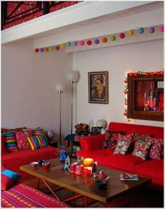 Living Room , Lively Mexican Style Living Room : Mexican Style Living Room With Red Seating And Colorful Pillows And Round Floor Lamp And Wall Art Bright Living Room Decor, Living Room Color Schemes, Living Room Colors, Living Room Designs, Mexican Living Rooms, Mexican Style Decor, Deco Boheme, Colorful Pillows, House Colors