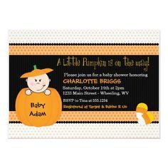 Little Pumpkin Halloween Baby Shower Invitations