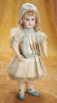 """Portrait Bebe by Jumeau in Rare Size with Signed Jumeau Aqua Shoes, 13"""" (33 cm.) Theriault's Antique Doll Auctions"""