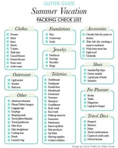 32+ Ideas Holiday Checklist Packing Lists Summer For 2019