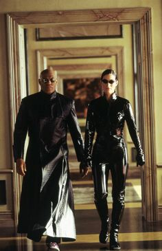 Laurence Fishburne & Carrie-Anne Moss in The Matrix Reloaded
