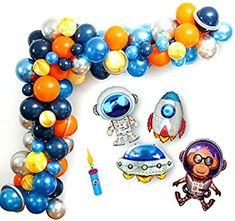 Amazon.com: PartyDolphins: Outer Space Party Balloons, Outer Space Party Decorations, Outer Space Balloon Garland Kit, Double Action Balloon Hand Pump, Rocket, Astronaut, UFO, Monkey, 94 pieces: Toys & Games Orange Balloons, Up Balloons, Baby Shower Balloons, Balloon Garland, Balloon Pump, The Balloon, Dolphin Food, Outer Space Party, Girl Baby Shower Decorations