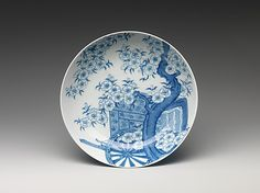 Dish with Design of Cart under Cherry-Blossom Tree