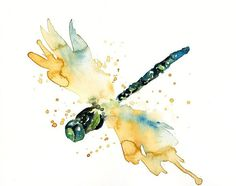 DRAGONFLY by DIMDI Original watercolour painting by dimdi on Etsy, $25.00