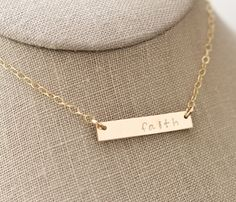 Gold-Filled Faith Hand Stamped Horizontal Bar Necklace