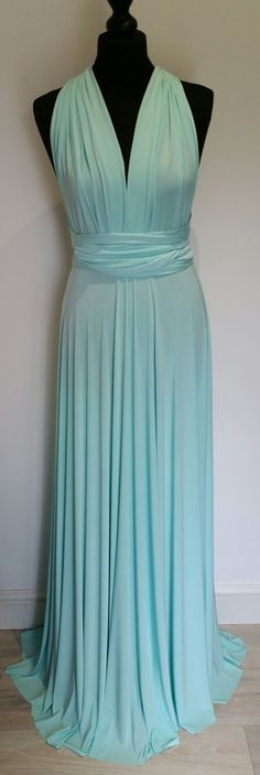 Infinity Multiway Convertible Twist Wrap Dress Bridesmaid Wedding Prom Evening Ice Blue Mint