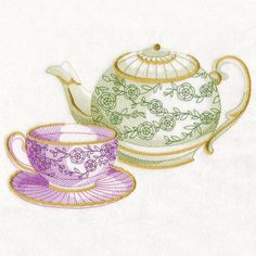 Antique Teapot and Teacup design (M15014) from www.Emblibrary.com