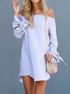 Solid Color Off-the-shoulder Bow-embellished Mini Dress