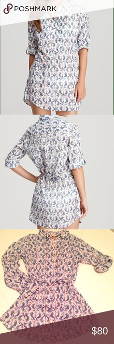 TORY BURCH SEAHORSE COVERUP 100% cotton seahorse print cover up. Can be worn long sleeve or rolled up sleeve like in the picture. Ties around the waist. Tory Burch Swim Coverups