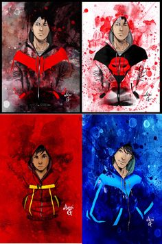 Jason Todd, Damian Wayne, and Dick Grayson hoodie collection for Red Hood, Robin, and Nightwing