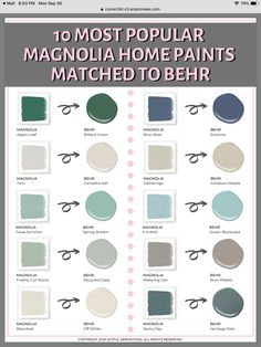 Grab 10 More Popular Magnolia Color Matches for Free! Privacy Policy: We hate spam and promise Behr Paint Colors, Paint Color Schemes, Bathroom Paint Colors, Paint Colors For Home, Behr Exterior Paint Colors, Furniture Paint Colors, Living Room Paint Colors, Fixer Upper Paint Colors, Most Popular Paint Colors