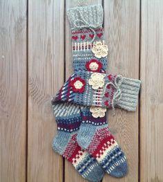 Wool socks Hand knit Knee high socks Over the knee by KnotByKnott Knit Socks, Knitting Socks, Hand Knitting, Womens Wool Socks, Warm Socks, Knee High Socks, Sheep Wool, Christmas Stockings, Gifts For Her