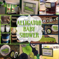Need Alligator Baby Shower ideas? Check out my post for DIY projects and unique decorations Alligator Party, Baby Alligator, Alligator Baby Showers, Alligator Birthday, Baby Girl Shower Themes, Baby Shower Decorations For Boys, Baby Boy Shower, Diaper Shower, Shower Party