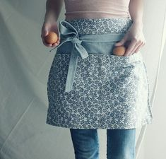 Items similar to just before dawn blue apron on Etsy Sewing Hacks, Sewing Crafts, Sewing Projects, Diy Vetement, Cute Aprons, Blue Apron, Sewing Aprons, Half Apron, Aprons Vintage