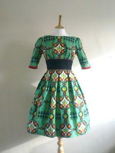 Beautiful dress made from an original vintage scandinavian print cotton.