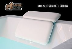 The Original GORILLA GRIP (TM) Non-Slip Spa Bath Pillow Featuring Powerful Gripping Technology. Extra Soft & Large, 14.5