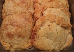 Chicken Pasties Filled with Chicken Breasts, Celery, Potatoes, Onions in a Puff Pastry,