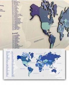 Mapa Interativo MDF - Tons de Azul