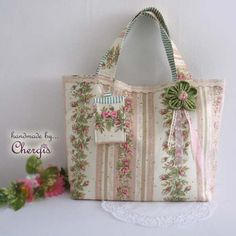 Handmade Country style Floral Tote Bag/ Hand /Shoulder Bag with fabric flower – Chergis