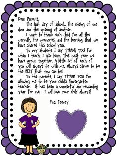 What to say in your end of year letter to parents (kindergarten) Letter To Students, Letter To Teacher, Letter To Parents, Parents As Teachers, Parent Letters, Kindergarten Classroom, Classroom Activities, Classroom Ideas, Kindergarten Graduation Speech