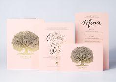 Elena + Andrew's Blush + Gold Invitation, Wedding Ceremony Program, and Menu // Design by The Nouveau Romantics