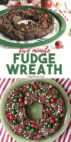 Five Minute Fudge Wreath is a super easy delicious fudge that has become a holiday tradition in our family. We've made other flavors, by replacing the peanut butter chips with mint or butterscotch or swap out the vanilla extract with whiskey! Christmas Sweets, Christmas Cooking, Christmas Goodies, Christmas Parties, Family Christmas, Christmas Cupcakes, Simple Christmas, Christmas Potluck, Christmas Fudge