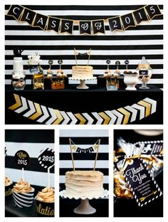 Black Gold Party Black and Gold Graduation Party - Pretty My Party - This Black and Gold Graduation Party is the perfect way to celebrate your graduate! Graduation Open Houses, College Graduation Parties, Graduation Celebration, Graduation Party Decor, Grad Parties, Graduation Ideas, Phd Graduation, Graduation Quotes, Graduation Gifts