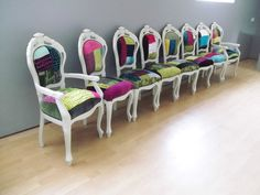 Shabby Chic Italian Louis Style Dining Chairs Designers Guild Patchwork Fabric | eBay