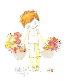 doll boy, little gardener, Cécile Hudrisier