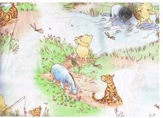 classic pooh printables | Yard 6 Inch Classic Winnie The Pooh Quilt Fabric Woods Scene ...