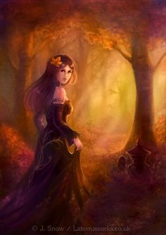 The Escape by KitJoYuki on DeviantArt Fantasy Dress, Fantasy Art, Mad Women, Autumn Art, Love Painting, Magical Girl, Fantasy Characters, Art Pictures, Digital Illustration