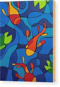 'Koi Joi – Blue Koi Teich Orange Fisch Kunstdruck' Kunstdruck by Sharon Cummings Koi Joi – Blue Koi Pond Orange Fish Art Print von Sharon Cummings Art Koi, Fish Art, Club D'art, Wal Art, School Art Projects, Art Projects Kids, Halloween Art Projects, Art Education Projects, Art Lessons Elementary
