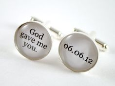 God gave me you personalized groom wedding date cufflinks - black and white cufflinks for the groom. $30.00, via Etsy.