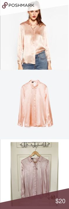 Zara Blush Pink Satin Shirt Lovely satin-like button up shirt / blouse that is a fun addition to any work wardrobe! Worn once, like new. Love this top but can't justify keeping it as I am usually in scrubs. The color is just like the model photo - I just couldn't get good lighting when I was taking the picture at home! Zara Tops Button Down Shirts