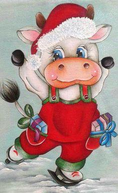 Diy Christmas Garland, Christmas Scenes, Christmas Animals, Christmas Images, Christmas Art, Vintage Christmas, Christmas Drawing, Christmas Paintings, Cow Painting