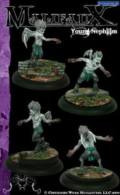 Malifaux 32mm: Young Nephilim by Wyrd Miniatures. $12.30. All miniatures supplied unpainted and May require preparation and assembly.. 32mm heroic scale high quality metal cast miniature. Young Nephilim (2 pack) - Malifaux Neverborn by Wyrd Miniatures. WYR4017 Young Nephilim (2 pack) - Malifaux Neverborn by Wyrd Miniatures 32mm heroic scale high quality metal cast miniature. All miniatures supplied unpainted. May require preparation and assembly. Provided with two 40mm plastic r...
