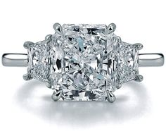 Radiant Diamond Engagement Ring Setting with Trapezoids