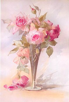 Victorian Rose Prints Gallery : Fragrant Cabbage Roses Print Aulich Cabbage Rose Vase