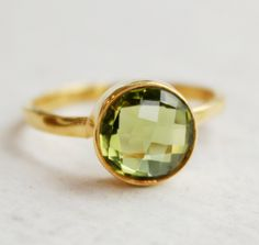 Green Peridot Quartz Ring Round Vermeil Gold Stacking by OhKuol