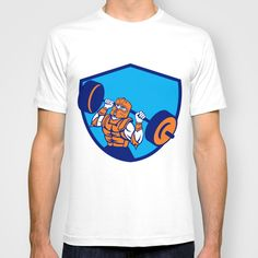Knight Lifting Barbell Crest Retro T-shirt. Illustration of knight in full armor and helmet lifting barbell looking up set inside shield crest viewed from front done in retro style on isolated background. #illustration #KnightLiftingBarbel