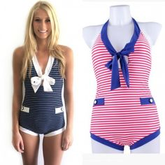 vintage style one piece swimsuit nautical monokini suits
