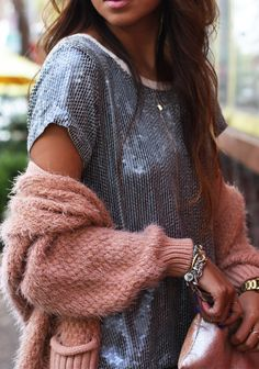 sequins and cozy sweater