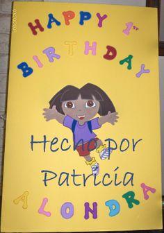letrero en foamy y carton Dora la exploradora