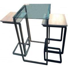 H_CONVERSATION composizione due sedie più tavolo con struttura in metallo cm. 125x51x110h