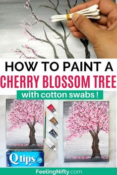 Canvas Painting Tutorials, Diy Canvas Art, Diy Painting, Cotton Painting, Tree Painting Easy, Painting Trees On Canvas, How To Paint Canvas, Easy Painting Projects, Abstract Tree Painting